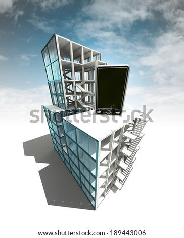 communication concept of architectural building plan with sky illustration - stock photo