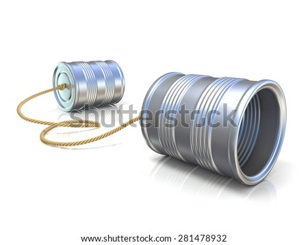 Communication concept: tin can children telephone with rope. 3D render illustration isolated on white background - stock photo
