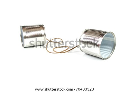 communication concept: tin can phone - stock photo