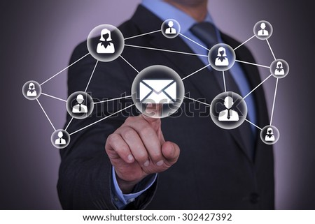 Communication Connect Dots on Touch Screen - stock photo