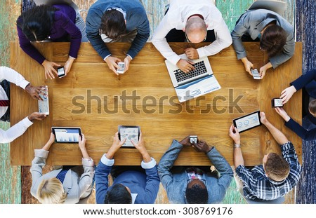Communication Connection Digital Devices Technology Concept - stock photo