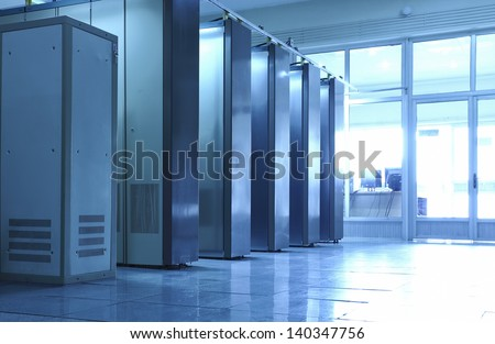 communication equipment room - stock photo