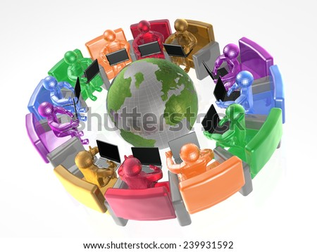 Communication - globe, color mans and notebooks on white background. - stock photo
