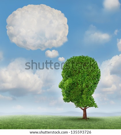 Communication growth with a tree shaped as a human head with a blank word bubble made of clouds as a business concept of growing ways of sending a message using cloud technology. - stock photo