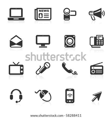 Communication Icons isolated over white background - minimo series - stock photo