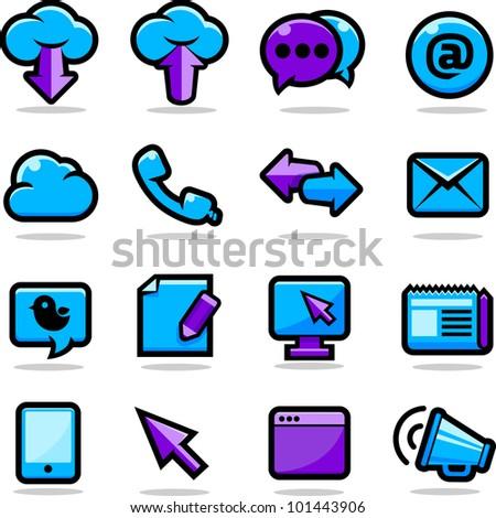 Communication icons set - stock photo