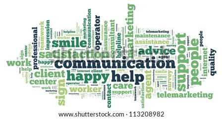 communication info-text graphics and arrangement concept on white background (word cloud) - stock photo
