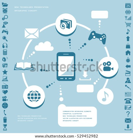 Communication infographic elements. Raster version
