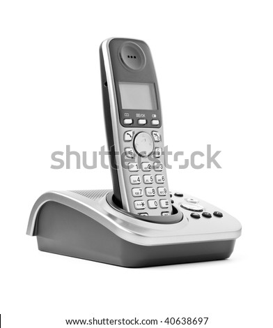 communication objects. digital cordless answering system isolated on white - stock photo
