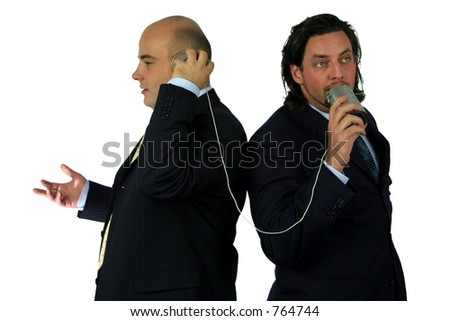 Communication on the can phone - stock photo