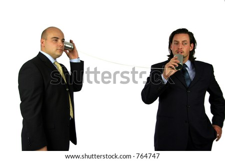 Communication on the can phone II - stock photo