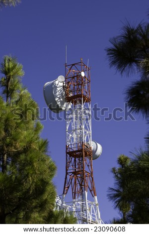 communication radar instalation in the top of a mountain - stock photo