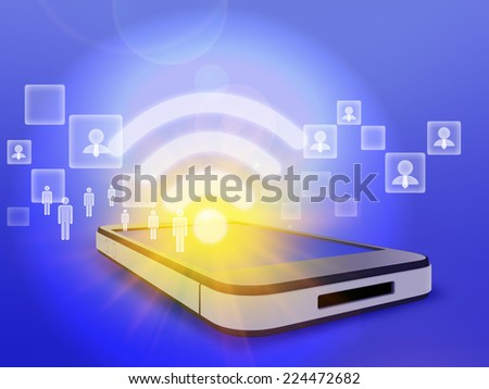 communication society people via wireless network of internet - stock photo