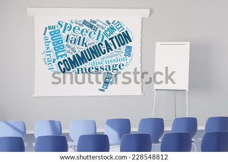 Communication tag cloud on a flipchart in a seminar room (3D Rendering) - stock photo