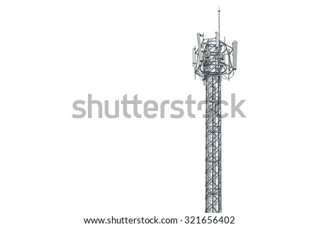 Communication tower in Thailand isolated on white background - stock photo