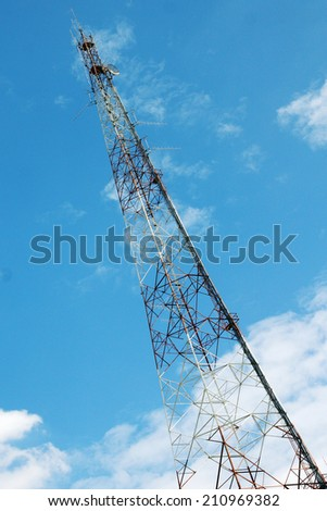 communication tower with the blue sky.