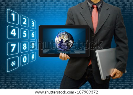 Communication world on tablet : Elements of this image furnished by NASA - stock photo