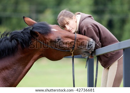 communication - young girl and bay horse in paddock - stock photo