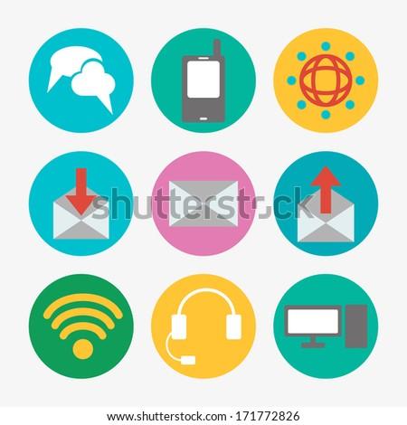 Communications icons - stock photo