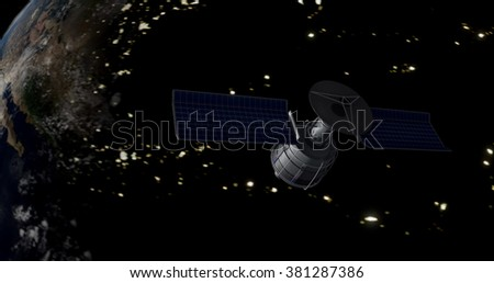 Communications satellite in space (Elements of this image furnished by NASA) - Futuristic/Modern Atmosphere  - stock photo