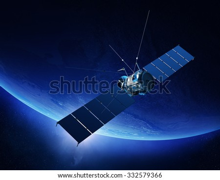 Communications satellite orbiting Earth with sunrise in space (Texture maps for 3D render furnished by NASA) - stock photo