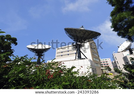 Communications satellite receiver  Communications satellite receiver is an artificial satellite sent to space for the purpose of telecommunications. - stock photo