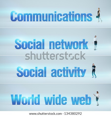 Communications, Social network, Social activity, World wide web : pack of banners with people (man / woman) and word. Businessman or businesswoman stands near big letters. Headers set. - stock photo