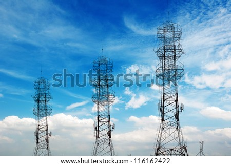 Communications Tower in the sky background - stock photo
