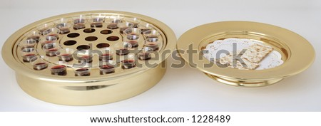 Communion trays with unleavened bread and wine - stock photo