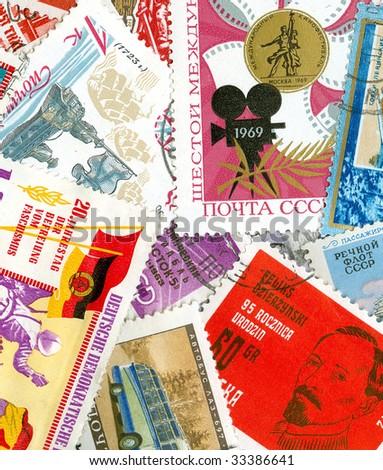 Communist propaganda vintage  stamp collection - stock photo