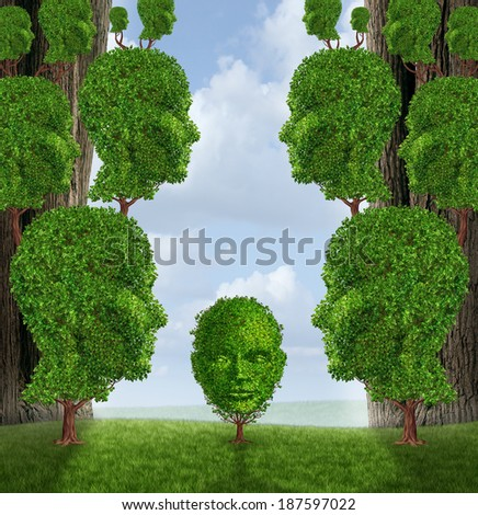 Community assistance and public support concept as a group of adult human head shaped trees helping a child plant as a nurturing metaphor for government social services in education and friendship. - stock photo
