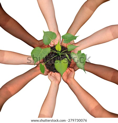 Community collaboration and cooperation concept and social crowdfunding investment symbol as a group of diverse hands organized in a circular formation nurturing a growing sapling tree. - stock photo