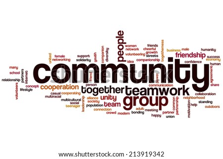 Community concept word cloud background - stock photo
