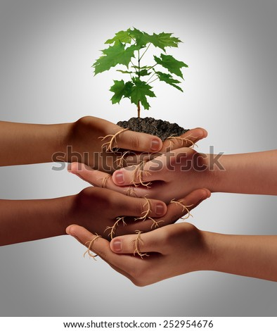 Community cooperation concept and social crowdfunding investment symbol as a group of diverse hands nurturing a sapling tree with roots wrapped and connecting the people together. - stock photo