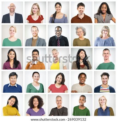 Community Diversity Group Headshot People Concept - stock photo
