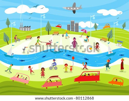 Community life - raster - stock photo: shutterstock.com/similar-100861771/stock-vector-donut-factory...