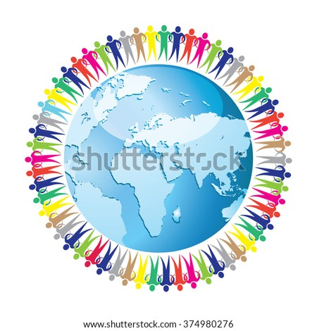 Community of people joined around the globe. Social network. Land and a group of people  Raster version.