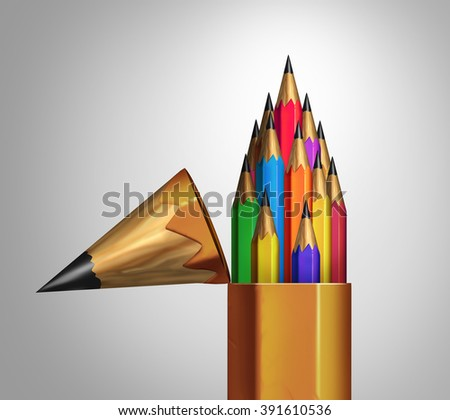 Community strength and diverse group teamwork concept as an open giant pencil with a team of multicolored smaller pencils inside as a business or education metaphor for unity and diversity success. - stock photo