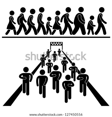 Community Walk and Run Marching Marathon Rally Stick Figure Pictogram Icon - stock photo