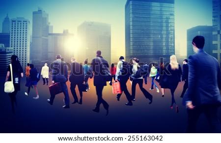 Commuter Business District Walking Crowd Cityscape Concept - stock photo