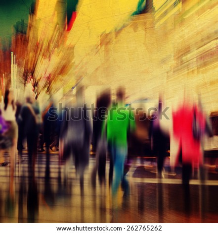 Commuter People Rush Hour Busy City Concept - stock photo