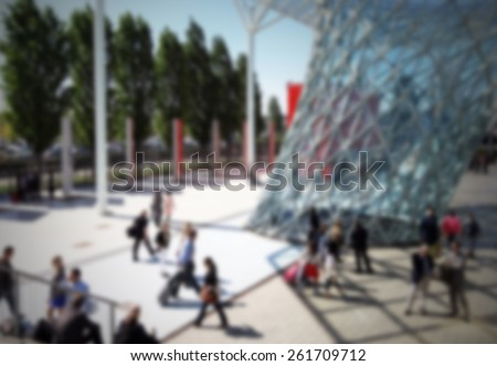 Commuters background. Intentionally blurred editing post production. - stock photo