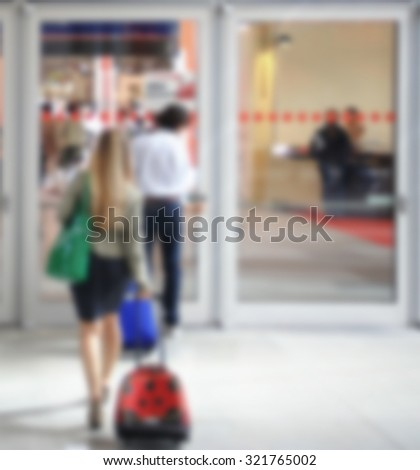 Commuters background, intentionally blurred post production.