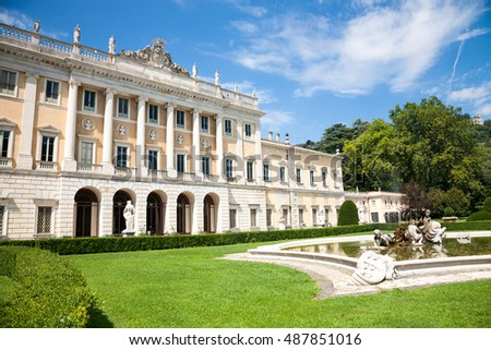 Como, Italy - 2016, August 17 : The museum of Villa Olmo and gardens, a historic neoclassical villa in the town of Como on the Como lake now owned by the city of Como