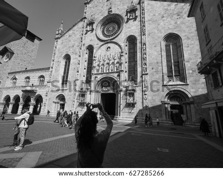 COMO, ITALY - CIRCA APRIL 2017: Santa Maria Assunta Roman Catholic cathedral church and Broletto (town hall) in black_and_white