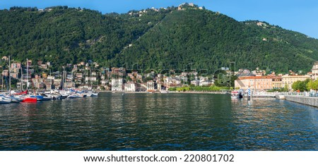 COMO, ITALY, JULY 31:view of Lake Como, where George Clooney has a villa with private beach that is used as a summer residence  in Como on circa July 31, 2014
