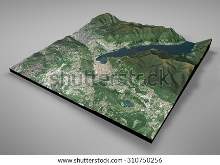 Como, Italy, lake, satellite view, map in 3d, night, lights. Element of this image are furnished by NASA