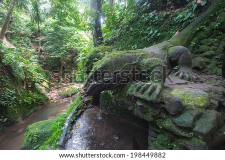Comodo Dragon in Monkey Forest, Ubud, Bali - Indonesia - stock photo