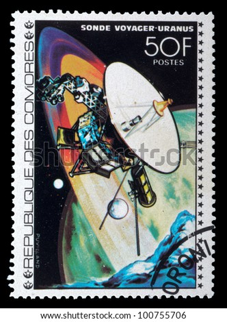 COMORES - CIRCA 1980 : stamp printed in Comores shows Viking III space station NASA in Mars mission, circa 1980 - stock photo