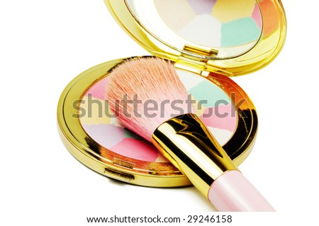compact and brush - stock photo